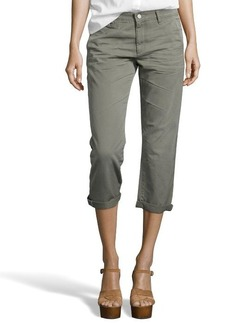 AG Adriano Goldschmied olive green 'Ex-BF' cropped khakis