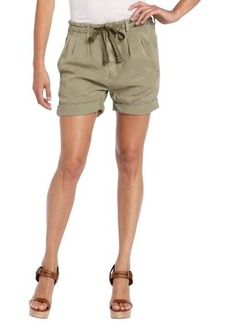 AG Adriano Goldschmied olive green woven paper bag stretch waist short