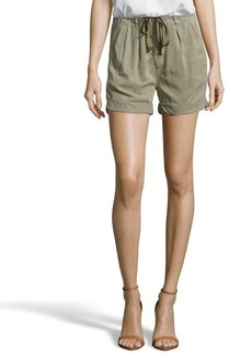 AG Adriano Goldschmied olive green woven 'The Paper Bag' drawstring short