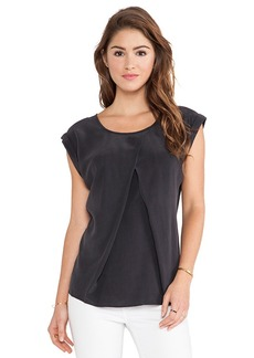 AG Adriano Goldschmied Pleated Rowan Top in Charcoal