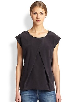 AG Adriano Goldschmied Rowan Silk Pleat-Front Top