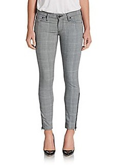 AG Adriano Goldschmied Skinny Plaid Ankle-Zip Pants