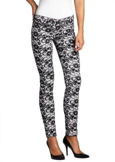 AG Adriano Goldschmied white and black lace print denim 'The Legging' super skinny jeans