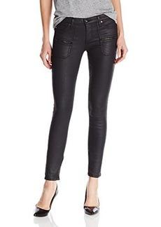 AG Adriano Goldschmied Women's Harlow Zippered Skinny Jean in Blackslick