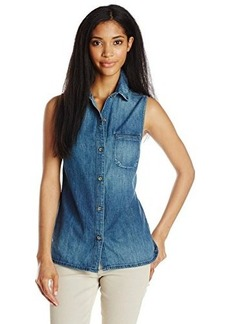 AG Adriano Goldschmied Women's Meadows Sleeveless Denim Shirt, Offshore, Small