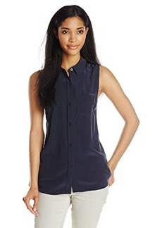 AG Adriano Goldschmied Women's Meadows Sleeveless Silk Shirt, Night Eclipse, Small
