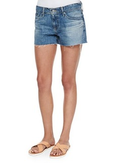 AG Bonnie Relaxed Frayed Denim Shorts