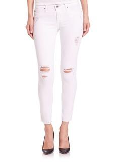 AG Distressed Legging Ankle Raw-Hem Jeans