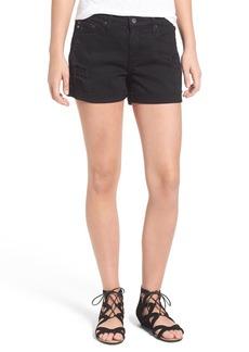 AG 'Hailey' Boyfriend Denim Shorts (Destructed Worn Black)