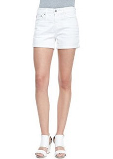 AG Hailey Roll-Up Distressed Denim Shorts, White
