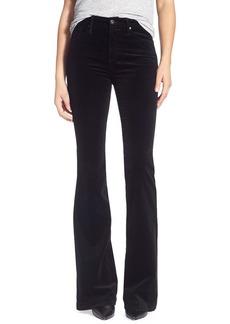 AG 'Janis' Velvet High Rise Flare Jeans (Super Black)
