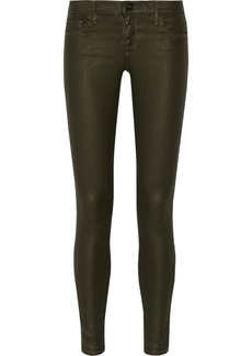 AG Jeans Absolute coated low-rise skinny jeans