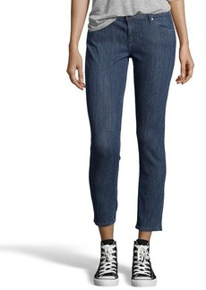 AG Jeans blue and white polka dot stretch denim 'The Legging Ankle' jeans