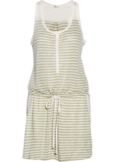 AG Jeans Henley striped slub jersey mini dress