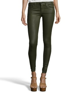 AG Jeans platoon green coated denim 'Absolute Legging' jeans