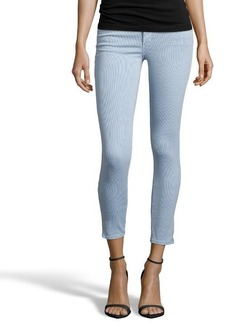 AG Jeans sky and blue pinstriped stretch denim 'The Legging Ankle' super skinny ankle jeans