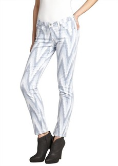 AG Jeans white and blue chevron stretch denim 'The Stilt' cigarette jean