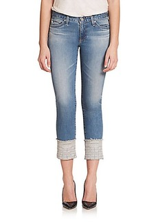 AG Stilt Embroidered-Cuff Cropped Jeans