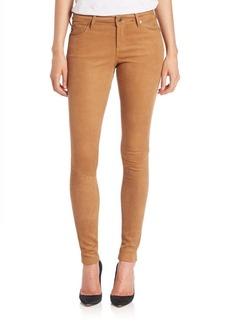 AG Suede Five-Pocket Skinny Jeans