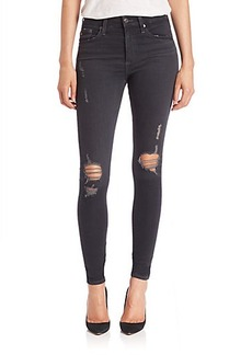AG The Farrah Distressed High-Rise Skinny Jeans