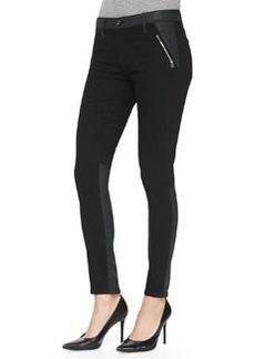 Willow Smolder Leather-Trim Denim Jeans   Willow Smolder Leather-Trim Denim Jeans
