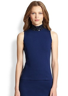 Akris Punto Beaded Mock-Neck Jersey Top