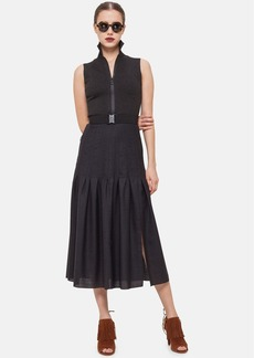 Akris punto Belted Front-Zip Midi Dress