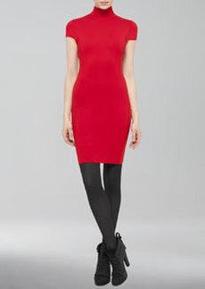 Akris punto Cap-Sleeve Mock-Neck Sheath Dress