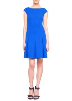 Akris punto Cap-Sleeve Pleated Scoop-Back Wool Dress
