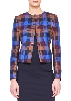 Akris punto Check-Front Snap Jacket