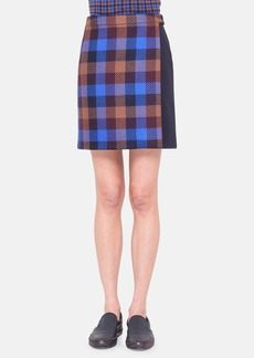 Akris punto Check Wool Wrap Skirt