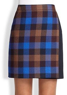 Akris Punto Check Wool Wrap Skirt