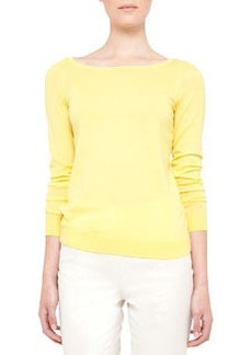 Akris punto Contrast-Back-Zip Wool Sweater