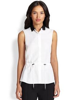 Akris Punto Contrast-Collar Sleeveless Shirt