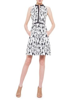 Akris punto Contrast-Trim Printed Dress with Pockets