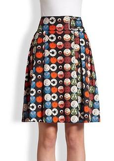 Akris Punto Cotton Record-Print Skirt