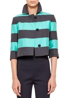 Akris punto Cropped bold stripe jacket,
