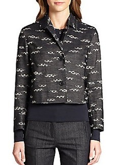 Akris Punto Cropped Denim Jacquard Jacket