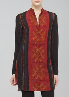 Akris punto Cross-Stitch-Print Wool Tunic, Black/Coral