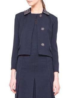 Akris punto Embellished-Collar Snap Jacket