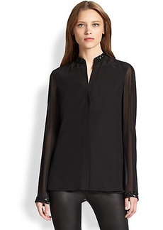 Akris Punto Embellished Silk Blouse