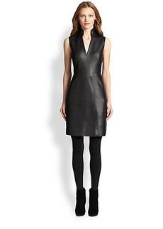 Akris Punto Faux Leather & Jersey Dress