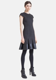 Akris punto Faux Leather Hem Jersey Fit & Flare Dress