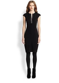 Akris Punto Faux Leather-Trim Boucle Dress