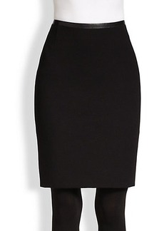 Akris Punto Faux Leather-Trimmed Jersey Pencil Skirt