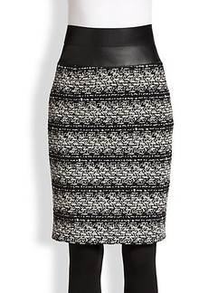 Akris Punto Faux Leather-Trimmed Tweed Pencil Skirt