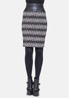 Akris punto Faux Leather Waist Jacquard Knit Skirt