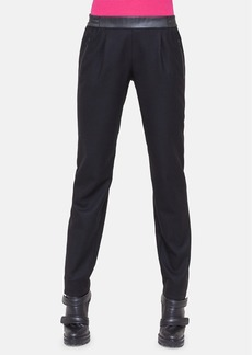 Akris punto Faux Leather Waist Wool Track Pants