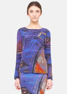 Akris punto Graffiti Print Silk Blouse