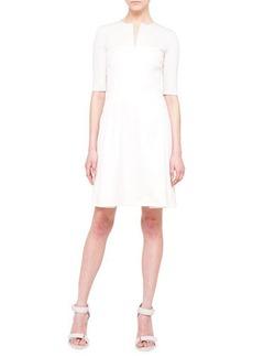 Akris punto Half-Sleeve A-Line Combo Dress, Canvas
